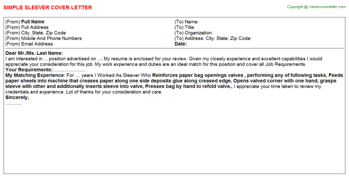 Sleever Cover Letter Template