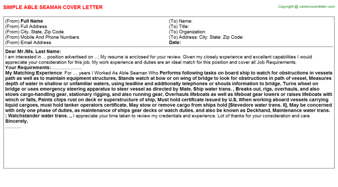 Able Seaman Job Cover Letter