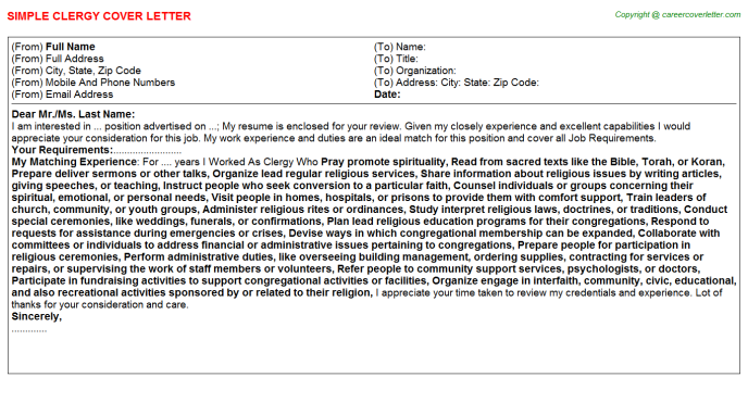 Clergy Cover Letter Template
