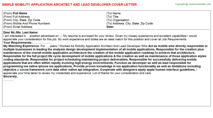 Mobility Application Architect And Lead Developer Job Cover ...