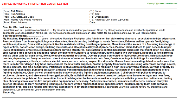 Municipal Firefighter Job Cover Letter Example
