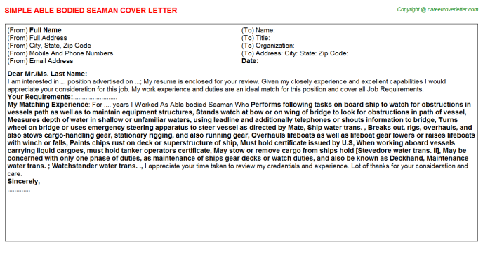 Able bodied Seaman Cover Letter Template