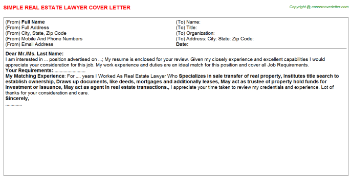 Real Estate Lawyer Cover Letter Template