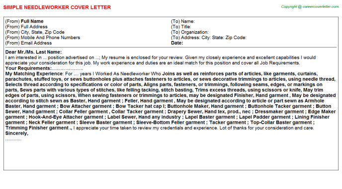 Needleworker Cover Letter Template