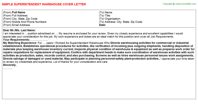 Warehouse Team Leader Job Cover Letters Examples