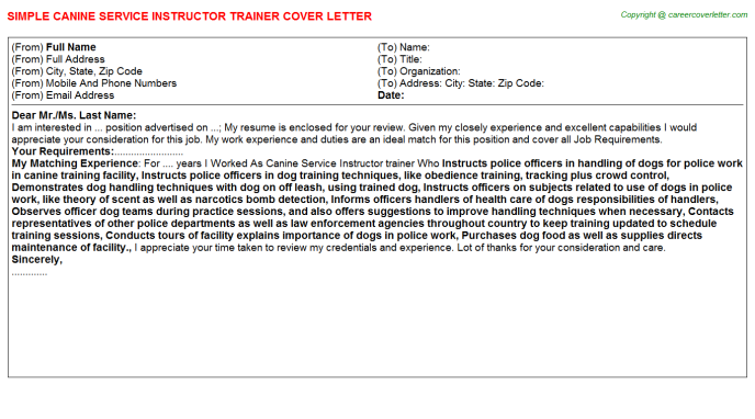 canine service instructor trainer cover letter template