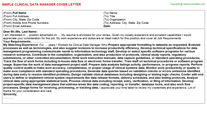 Clinical Data Manager Job Cover Letter