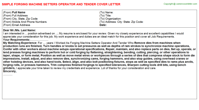 Forging Machine Setters Operator And Tender Cover Letter Template