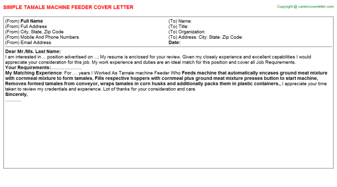 tamale machine feeder cover letter template