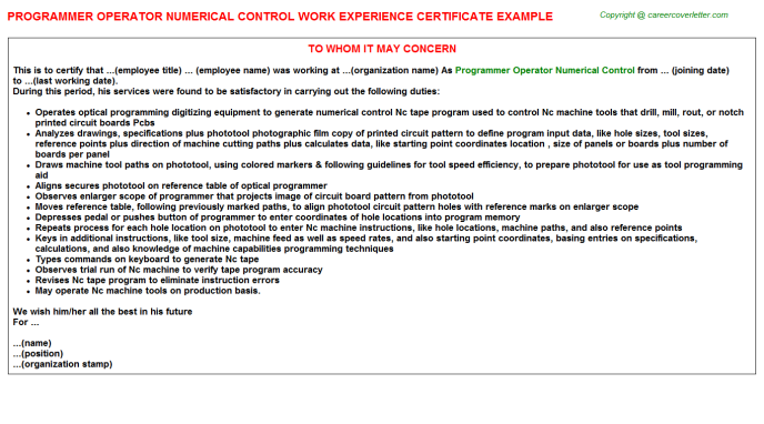 Programmer Operator Numerical Control Experience Certificate Template