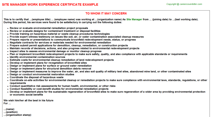 Site Manager Experience Letter Template