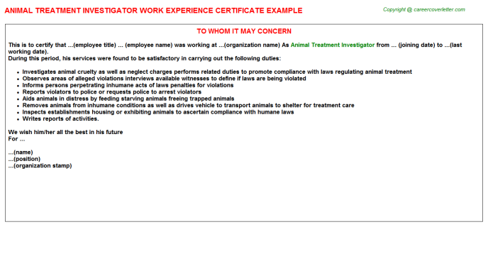 animal treatment investigator experience letter template
