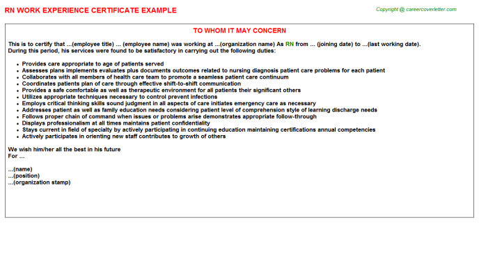 RN Work Experience Certificate Template