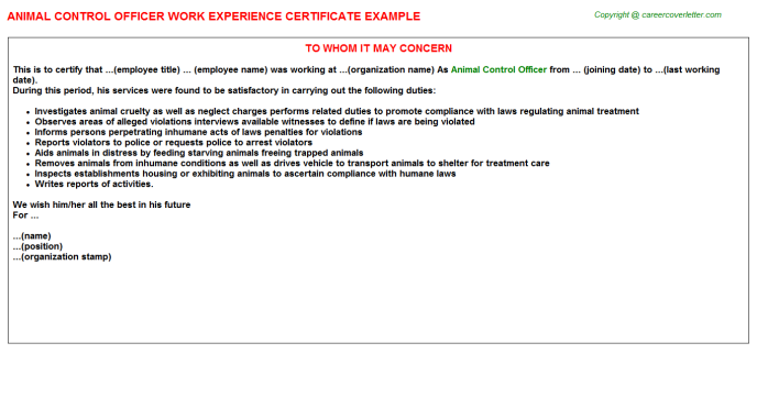 animal control officer experience letter template