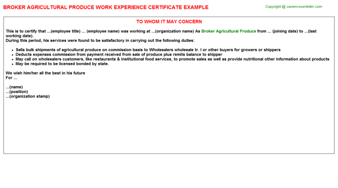 Broker Agricultural Produce Experience Letter Template
