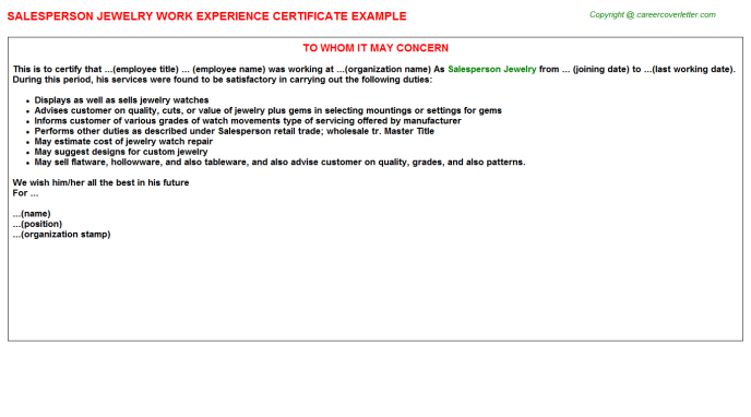 Salesperson Jewelry Experience Letter Template