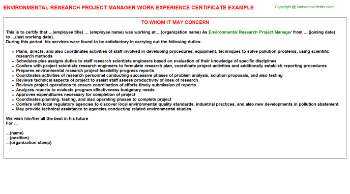 Environmental Research Project Manager Experience Letter