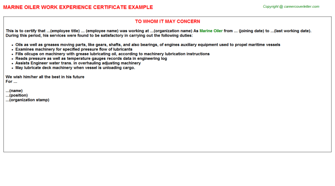 Marine Oiler Experience Letter Template