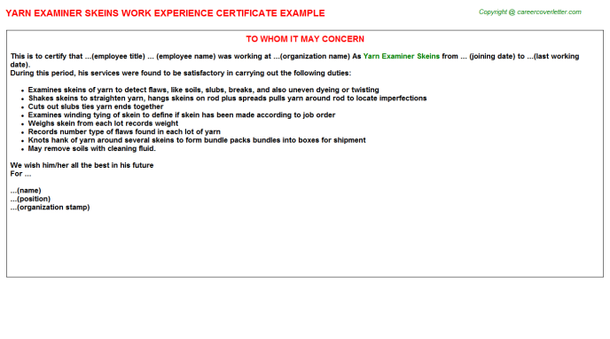 Yarn Examiner Skeins Work Experience Letter Template