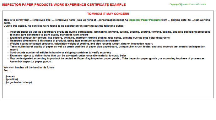 Inspector Paper Products Work Experience Certificate Template