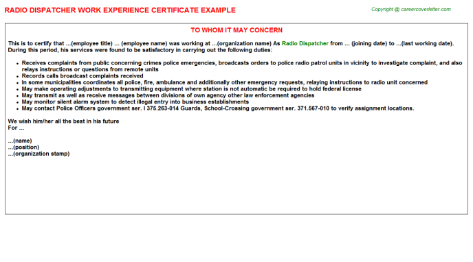 radio dispatcher experience letter template