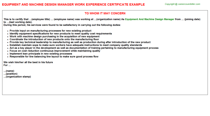 Equipment And Machine Design Manager Experience Letter