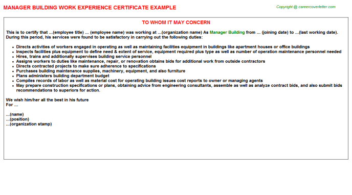 Manager Building Experience Letter Template