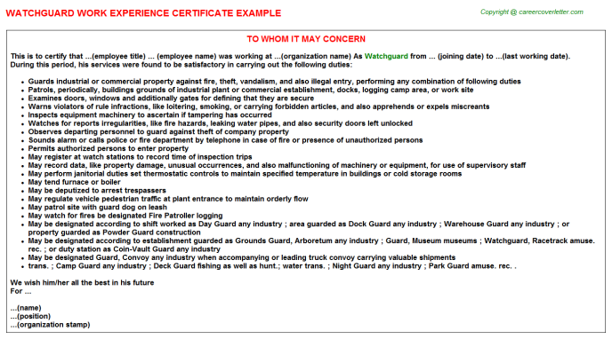 Watchguard Experience Letter Template