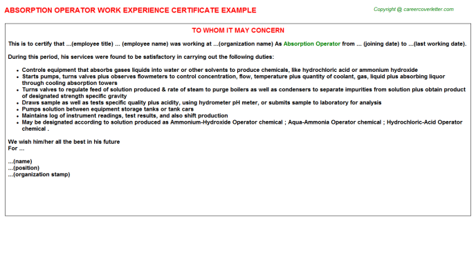 absorption operator experience letter template
