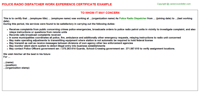 Police Radio Dispatcher Experience Letter Template