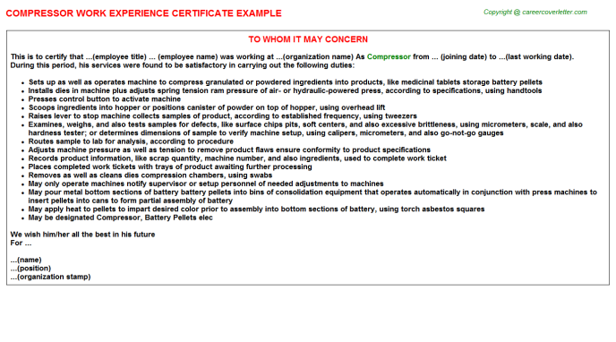 Compressor Experience Letter Template