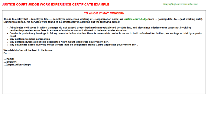 Justice Court Judge Work Experience Certificate Template
