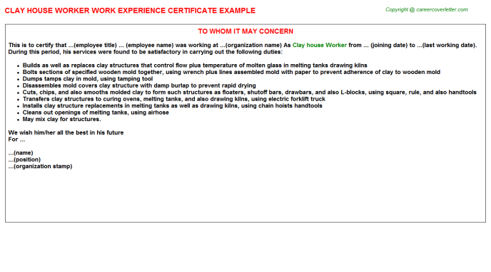 Clay house Worker Experience Letter Template