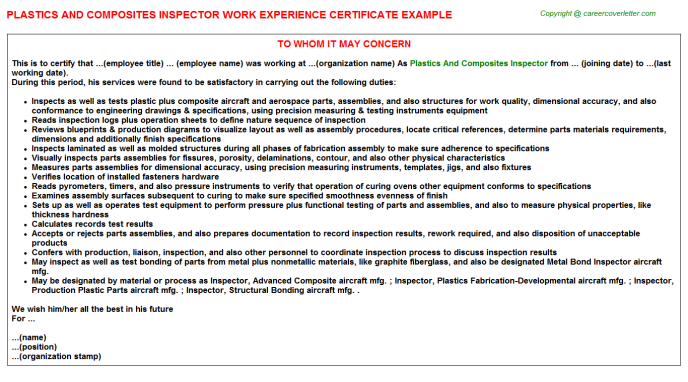 plastics and composites inspector experience letter template