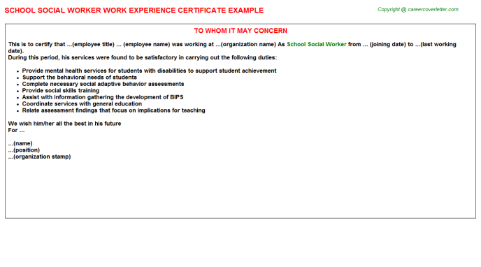 School Social Worker Experience Letter Template