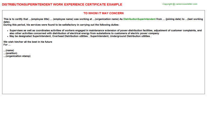 Distributionsuperintendent Experience Letter Template