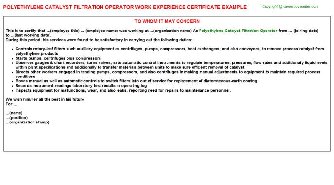 polyethylene catalyst filtration operator experience letter template