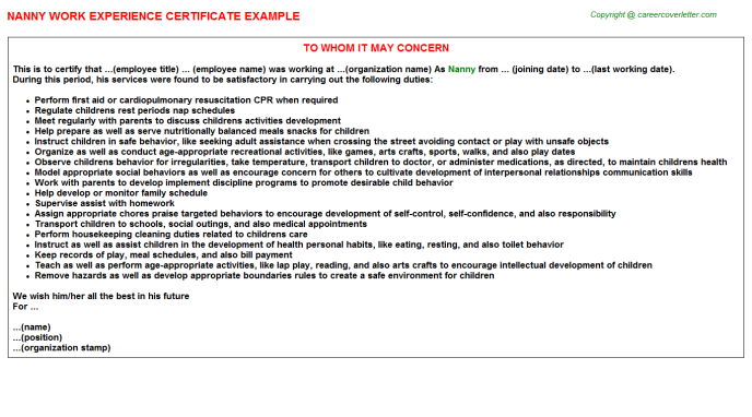 Nanny Work Experience Certificate Template