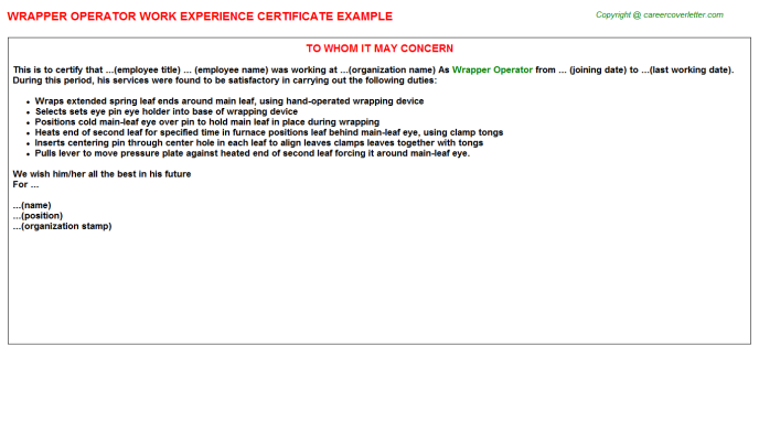 Wrapper Operator Experience Letter Template