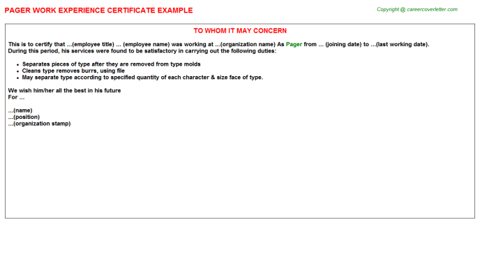 Pager Experience Letter Template