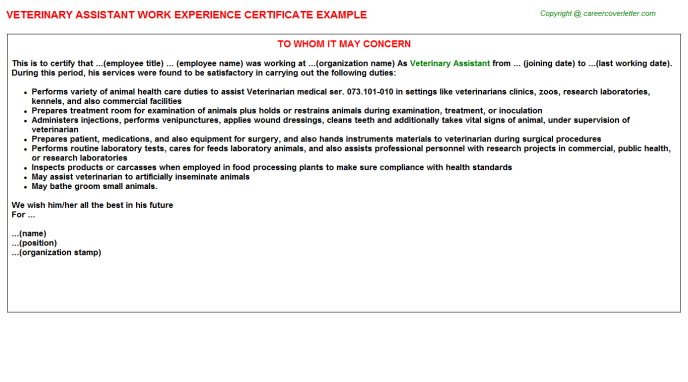 Veterinary Assistant Experience Certificate Letter Experience