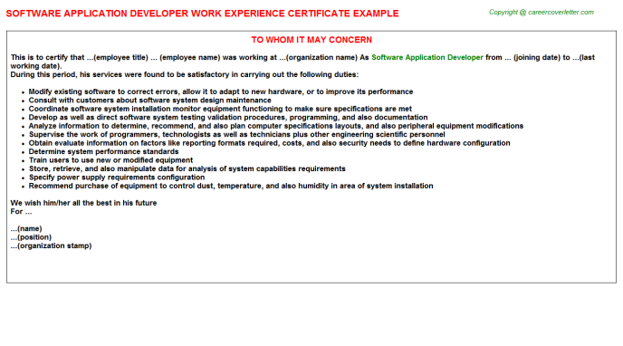 software application developer work experience letter