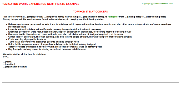 Fumigator Experience Letter Template
