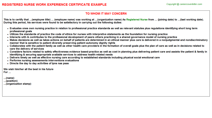 Registered Nurse Experience Letter Template