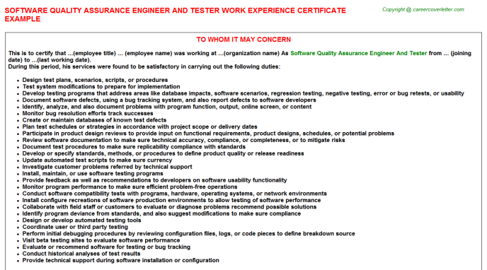 Software Quality Assurance Engineer And Tester - Career Template ...