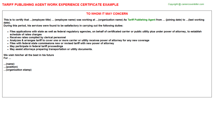 Tariff Publishing Agent Experience Letter Template