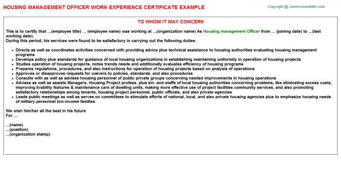 Housing management Officer Experience Letter Template