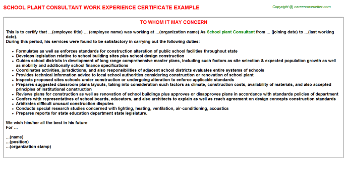 School plant Consultant Work Experience Letter Template
