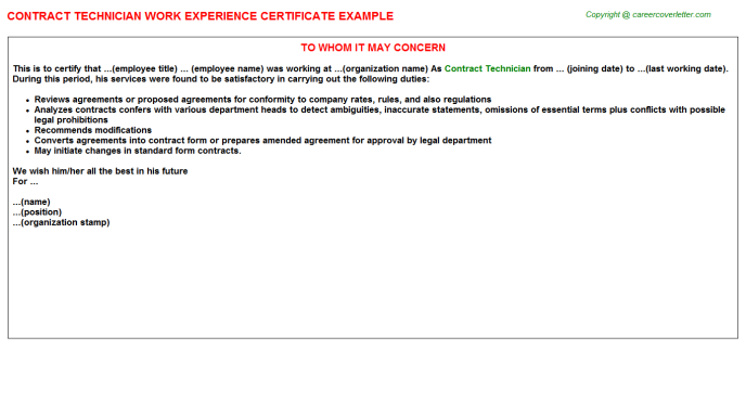 Contract Technician Experience Letter Template