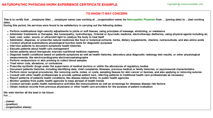 Naturopathic Physician Experience Letter Template